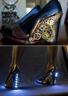 Awesome steampunk heels that come complete with LEDs.