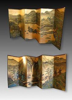 Pair Japanese Screen Paintings, Landscape Byobu