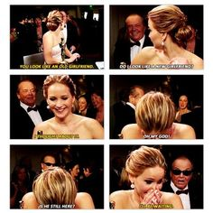 "Oscar conversation. Jennifer Lawrence and Jack Nicholson. ""I'll be waiting."""