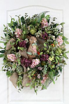 Elegant Easter Wreath, Easter Rabbit, Burlap Bow, Artichokes, Beautiful Flowers, Country Wreath, Easter Decor -- FREE SHIPPING. $176.00, via Etsy.