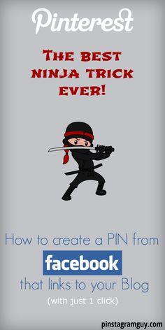 How to PIN from Facebook with just one click... The best Pinterest Ninja trick Ever! REPIN and click to see the Step by Step Tutorial http://pinstagramguy.com/how-to-pin-from-facebook/ #pinterest #pinteresttip