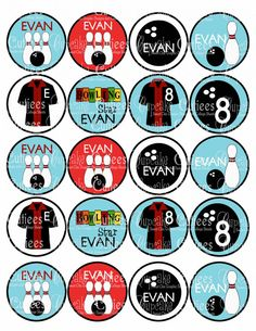 Bowling Fun  Personalized  Cupcake Toppers 2 Inch Circle Tags goodie bags or cupcake toppers U print