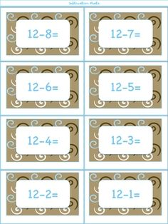 Here are some subtraction fact cards that can be used for games like war and memory. Pair with the addition fact cards to make fact families.