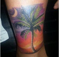 Lower Limb Palm Tree Tattoo Beach Tattoo Design, Tat Pics, Body Art, Palm Trees, Feminine Tattoo, Palm Tree Tattoos, Palms Trees Tattoo Ideas, Tropical Tat, Ink