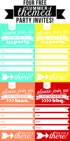 Four free summer-themed party invites