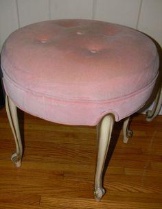 vintage french pink vanity stool