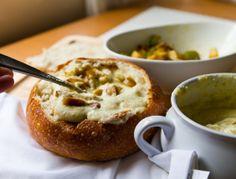 bread bowl of vegan clam chowder