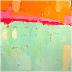 Abstract painting orange aqua