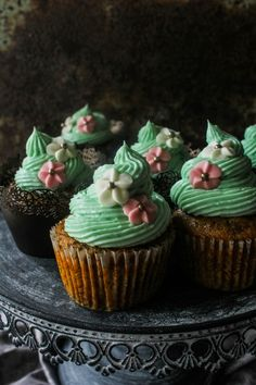 Date Cupcakes with White Chocolate Ganache Frosting