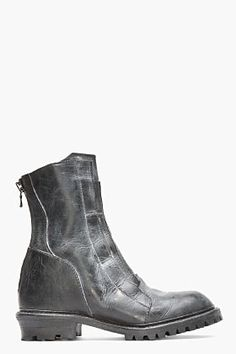 Julius Black Leather White-washed Boots for men | SSENSE