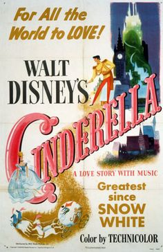 "A movie poster for the 1950 Walt Disney classic animated feature, ""Cinderella."""