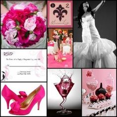 pink and black wedding inspiration board