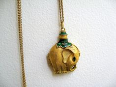 locket necklacesold, elephants, lockets, katbjewelri, enamel eleph, eleph locket, vintag goldton, green enamel, enamels