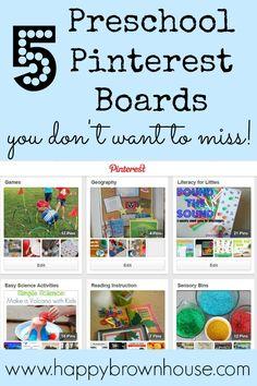 5 Preschoool Pinterest Boards You don't want to miss from www.happybrownhouse.com Fine Motor skills, Playdough, Sensory Bins, Math, and lite...