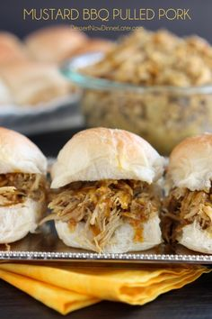 Mustard BBQ Pulled Pork on MyRecipeMagic.com is the perfect dinner all done in the slow cooker!