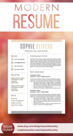 Beautiful resume template with cover letter and reference template included.
