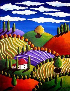 Whimsical Tuscan Colorful Landscape Folk Art Painting via Etsy