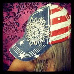 GLITZ & GLAM IN STARS & STRIPES BASEBALL HAT