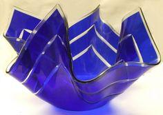 A RARE VINTAGE INTAGLIO / CUT GLASS COBALT BLUE HANDKERCHIEF VASE - CHANCE ? Sold for £99.20 EBay