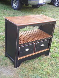 old blue dresser makeover, painted furniture, I stained all the slats and set them aside so I wouldn t get black paint on them I then painted the outside and inside Black and distressed the edges Then with my nail gun and some glue attached the slats