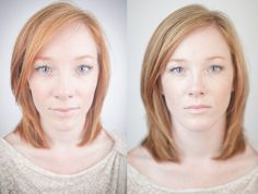 Great example: On the left is a wide-angle shot of her (28mm) and on the right a longer shot (85mm). This is a good example of why to use long lenses for portraits (above 50mm). It's so much more flattering.