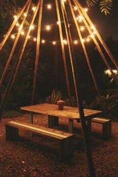 Garden lights over picnic table