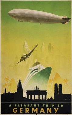 From 1935...the Hindenburg exploded in 1937. #vintage #travel #poster #Germany