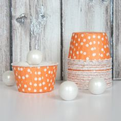 Candy Cups - Orange Polka Dot