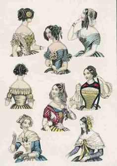 Hairstyles and head-dresses for balls and fancy dress events, World of Fashion, February 1847.