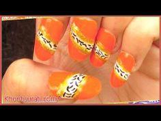 Orange Zebra Stripes Nail Art Design By KhoobSurati.com