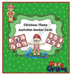 FREE Christmas Theme Australian Number Cards from Preschool Printables on TeachersNotebook.com (13 pages)  - Christmas Theme Australian Number Cards 1-50