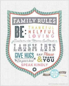 StudioPebbles Printable Family Rules - so cute!