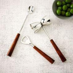 Wood Handled Bar Tools, 3 Piece Set /