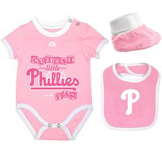 Philadelphia Phillies Newborn Triple Play 3-Pack Bib, Bootie, and Creeper Combo by Majestic Athletic