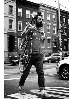 ride, fixi beard men, hipster, fashion, bike, bicycl, men style, boy, paris style