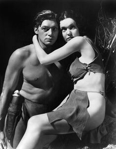 "Johnny Weissmuller and Maureen O'Sullivan in ""Tarzan And His Mate"" (1934)"