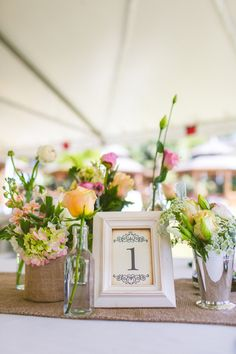 Eclectic and vintage centerpiece with burlap