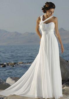 Empire Waist One-Shoulder Strap Chapel Train Chiffon Wedding Dress(CBE0183)