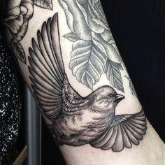 by Sasha Masiuk | #tattoos #blackink #black #ink #animals #birds #linework tattoo, blackink