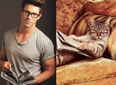 Cats and male models
