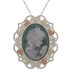 Cameo Pendant in Black Hills Gold over sterling silver on sterling chain