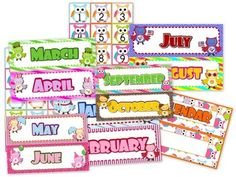 Owl Themed Classroom Calendar Set - This bright, owl-themed title includes a calendar header, 12 month headers, and 31 date squares.