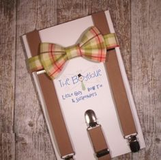 Bow Tie and Suspenders: Brown, Green and Melon Plaid Bow Tie, Baby Suspenders, Toddler Suspenders, Boys Suspenders, Wedding on Etsy, $26.00