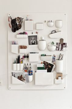 organization board, office spaces, white boards, wall storage, wall organization