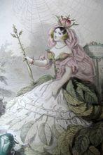 Antique 19th C GRANDVILLE Print w Watercolor The ROSE.  I adore this artist!