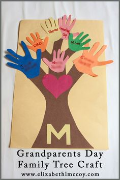 Grandparents Day Family Tree Craft  #homeschool #constructionpaper #craft #handprint