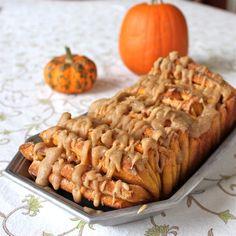 Pull Apart Cinnamon Pumpkin Bread with a Buttered Rum Glaze