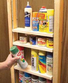 Make use of unfinished walls by adding simple shelves. You can pack 8 feet of storage into one wall stud cavity!