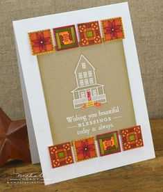 handmade Thanksgiving card ...  quilt blocs colored in rich golden hues of Auttumn ... Paper Trey Ink