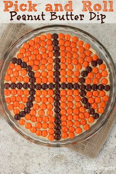 Pick and Roll Peanut Butter Dip ~ Delicious, Creamy Peanut Butter Dip topped with Reese's Pieces!